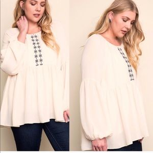 Plus Size Ivory Beige Embroidered BabyDoll Blouse
